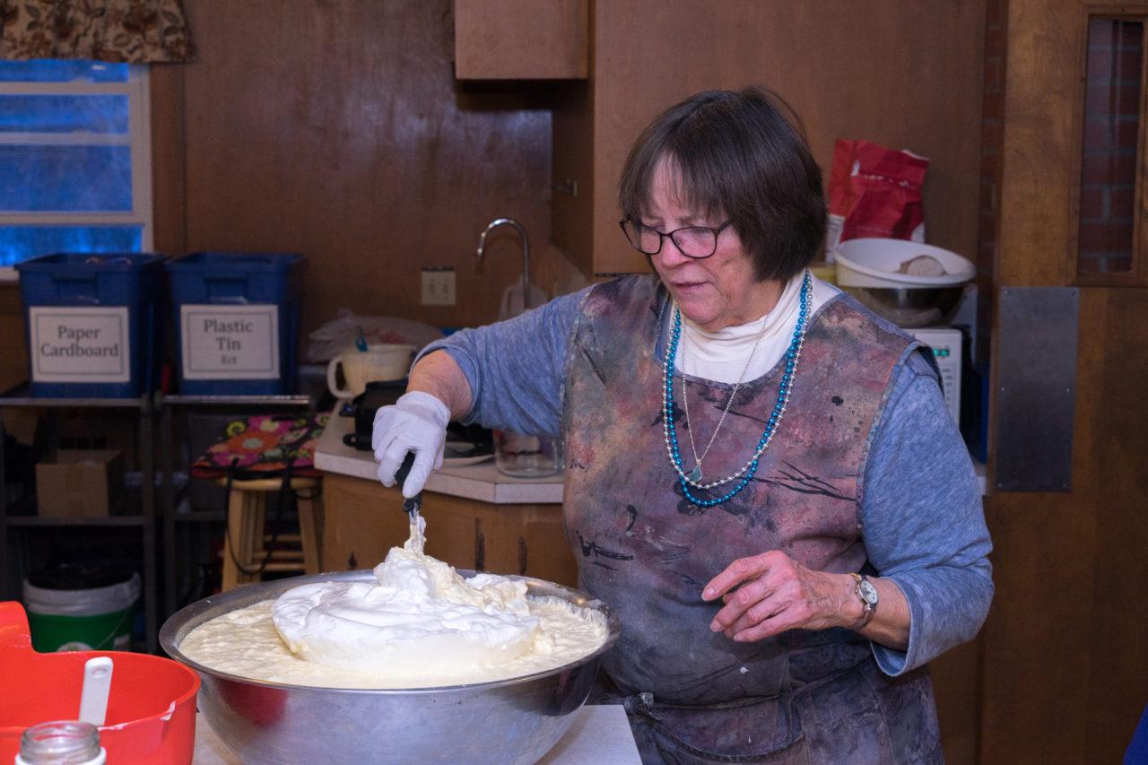 Judy and the huuuge pancake batter bowl