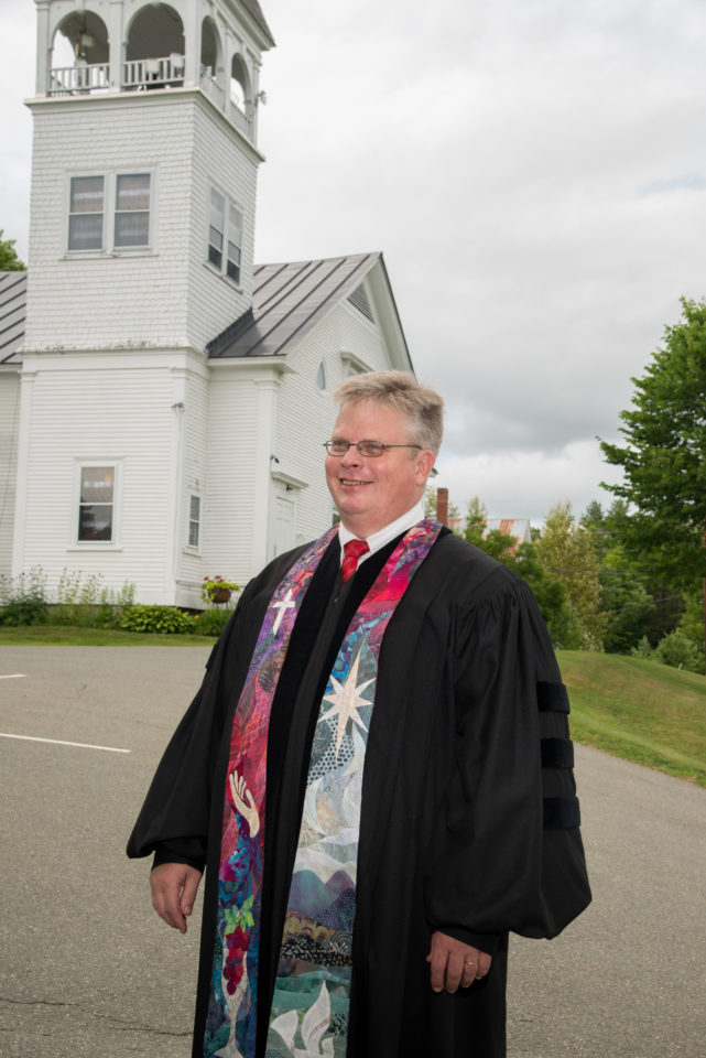 Reverend Ed Sunday-Winters after installation (wearing stole quilted by Judy Dales)